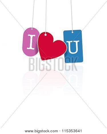 I Love You Hanging Tags On White