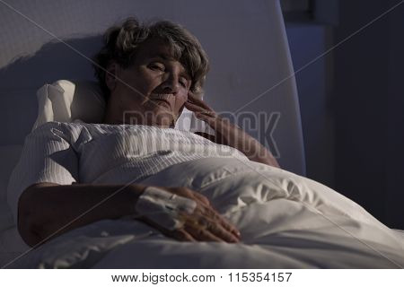 Elderly Lady Alone In Hospital