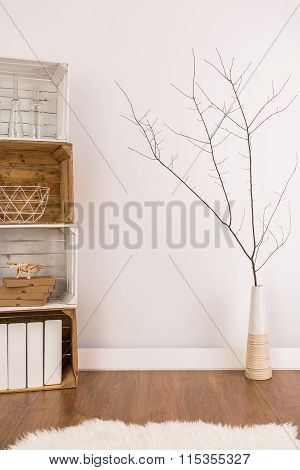 Little Twig In A Vase In Stylish Natural Living Room