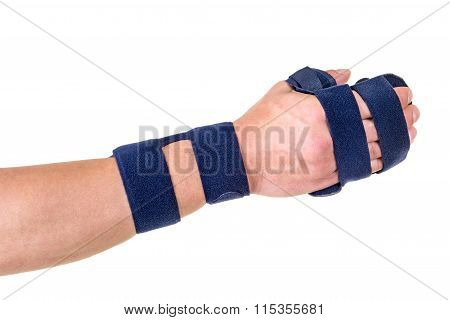 Person Wearing Supporting Hand And Wrist Brace