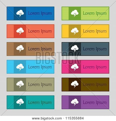 Heavy Thunderstorm Icon Sign. Set Of Twelve Rectangular, Colorful, Beautiful, High-quality Buttons