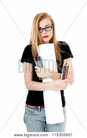 Happy Young Girl With  Colored Pencils, Felt-tip  And White Roll Paper, Wearing Black T-shirt, Denim