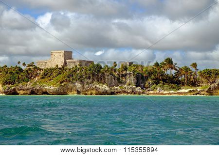 Landscape View Of Mayan Ruins At Ocean Coast Of Tulum