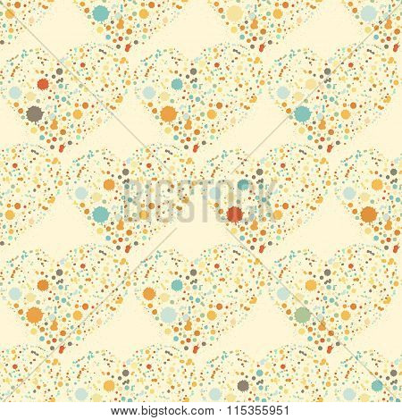 Splatter hearts seamless surface pattern