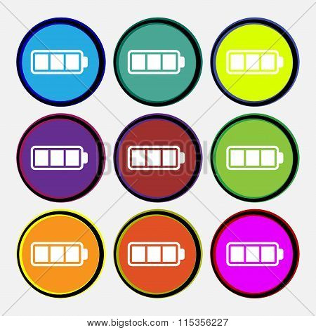 Battery Fully Charged Icon Sign. Nine Multi Colored Round Buttons.