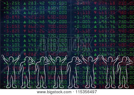 Group Of Happy And Sad Traders Facing Stock Exchange Data