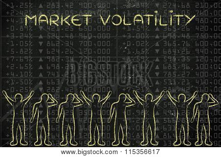 Happy And Sad Traders Facing Financial Data, With Text Market Volatility