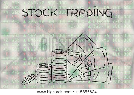 Coins And Cash Above Market Perfomance, With Text Stock Trading