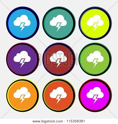 Heavy Thunderstorm Icon Sign. Nine Multi Colored Round Buttons.