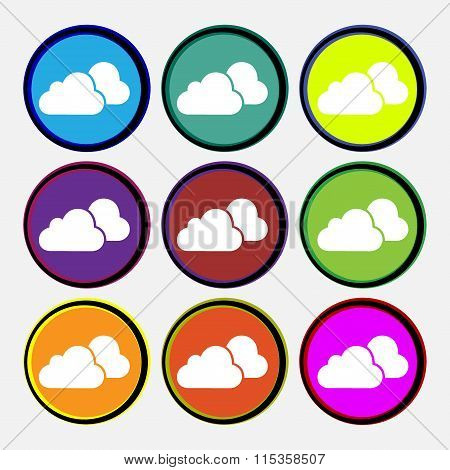 Clouds Icon Sign. Nine Multi Colored Round Buttons.