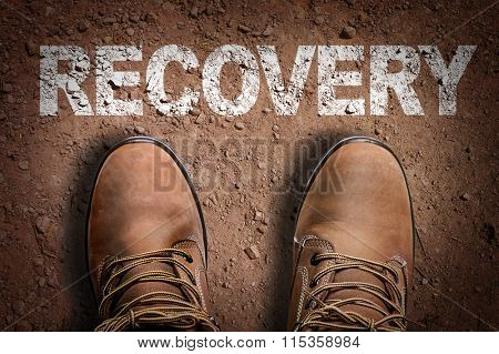 Top View of Boot on the trail with the text: Recovery