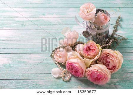 Background  With Rose  Flowers And Pearl