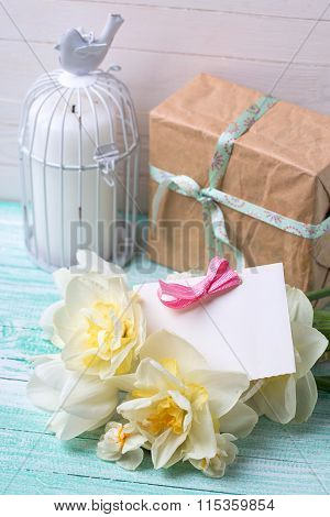 Daffodils Flowers, Candle, Gift Box  And Tag