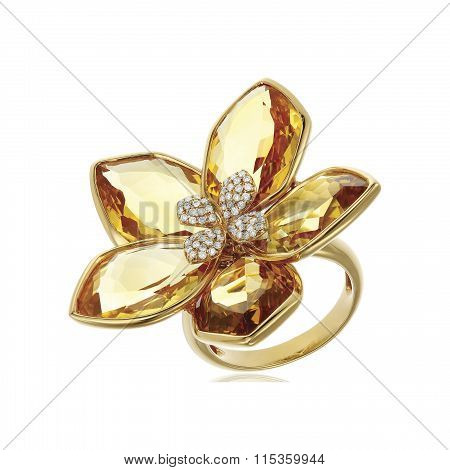 Yellow diamond ring isolated on white