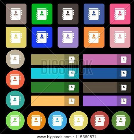 Notebook, Address, Phone Book Icon Sign. Set From Twenty Seven Multicolored Flat Buttons.