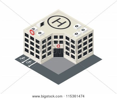 Vector isometric hospital building icon.