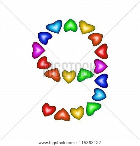 Number 9 Made Of Multicolored Hearts
