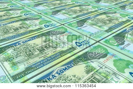 Somaliland shilings bills stacked background. Computer generated 3D photo rendering.