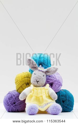 Balls Of Wool And Woollen Cuddly Toy