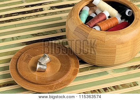 Spools of sewing thread.