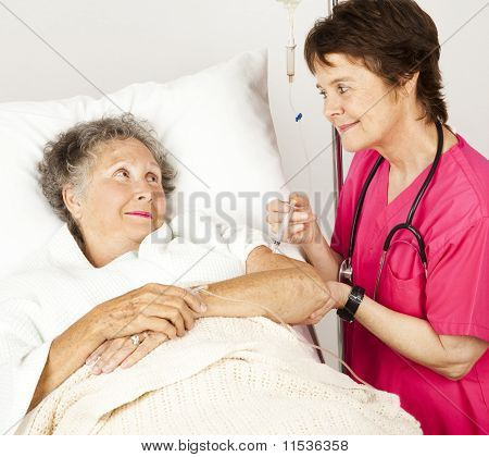 Hospital Nurse Gives Injection