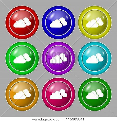 Clouds Icon Sign. Symbol On Nine Round Colourful Buttons.