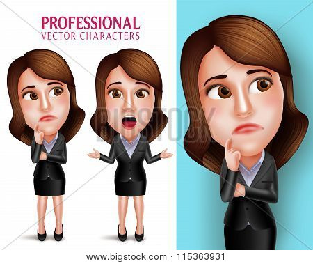 Professional Woman Character with Business Outfit Thinking or Confused and Talking