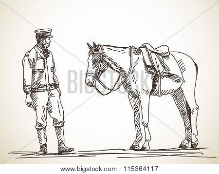 Sketch of policeman and horse, Hand drawn illustration