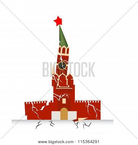 Moscow Kremlin Destruction. Earth-fault Earthquake. Destruction Of Points Of Interest In Russia. Rus
