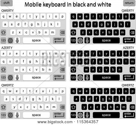 Phone keyboard in black and white, smart phone keypad, mobile phone key text