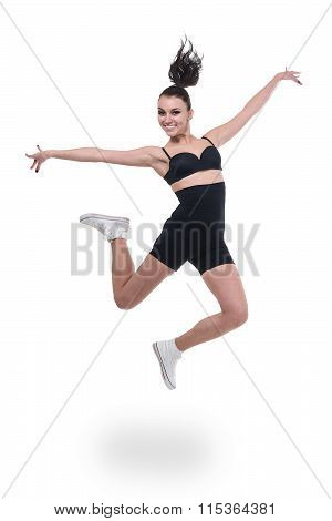Aerobics fitness woman jumping isolated in full body.