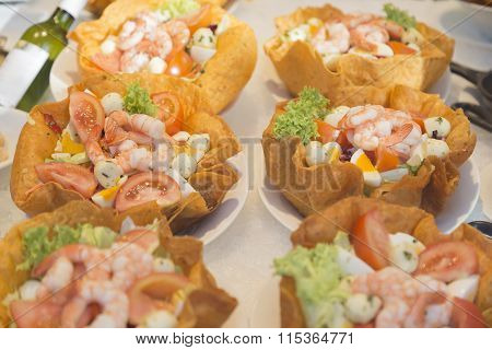 Shrimp Salad In Tortilla Bowl