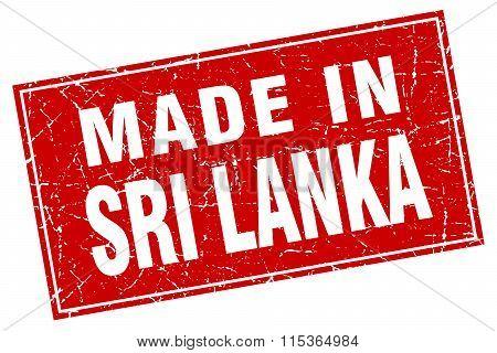 Sri Lanka red square grunge made in stamp