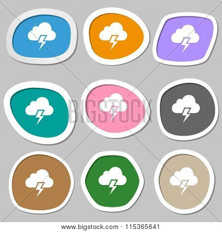 Heavy Thunderstorm Symbols. Multicolored Paper Stickers.