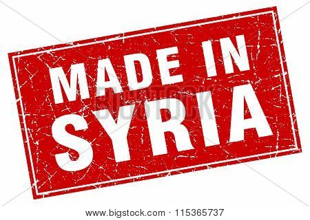 Syria red square grunge made in stamp