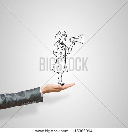 Caricatures of woman in palm