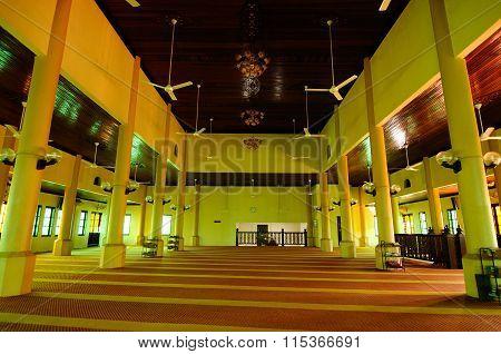 Interior of The Langgar Mosque located at Kota Bharu, Kelantan, Malaysia.