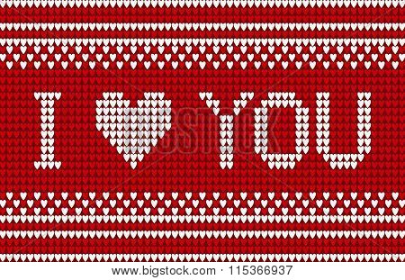 Knitted pattern with I love you inscription.