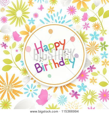 Birthday card with colorful flowers