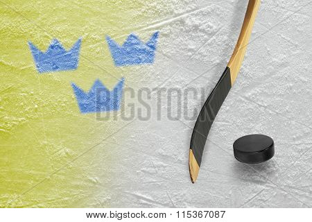 Hockey Puck, Stick And Three Crowns