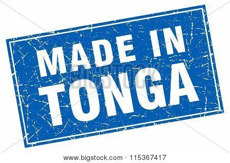 Tonga blue square grunge made in stamp
