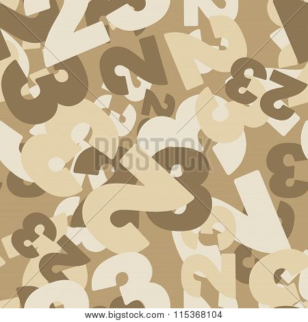 Military Texture. 23 February Seamless Pattern. Camouflage For Desert. Ornament For Military. Protec
