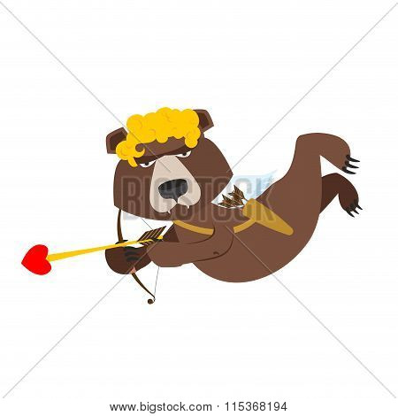 Bear Cupid. Funny Wild Animal In Yellow Wig. Shaggy Brown Beast With Wings Of Cupid. Cupid For Russi