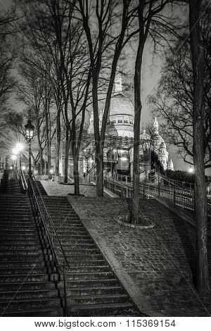 Montmartre Stairs, Basilica Of The Sacred Heart At Night, Paris