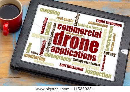commercial drone applications word cloud on a digital tablet with a cup of coffee