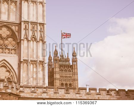 Retro Looking Houses Of Parliament In London