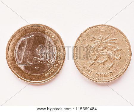 1 Euro And 1 Pound Vintage