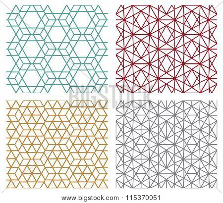Geometric Seamless Line Patterns In Hexagon Concept