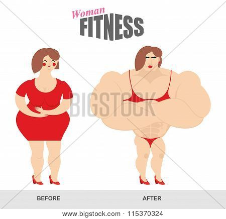 Womens Fitness. Woman Body Before And After. Sports Exercise And Athletic Figure. Fat Woman And Woma