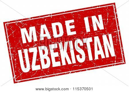 Uzbekistan red square grunge made in stamp
